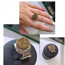 Pierścionek z druzą agatową złotą